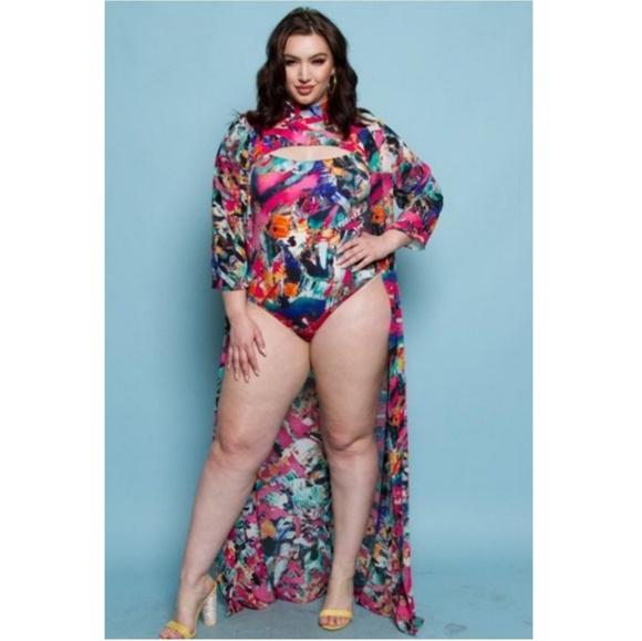 fda9c1429d3e6 Swim | Nice For What Bodysuit With Cardigan | Poshmark